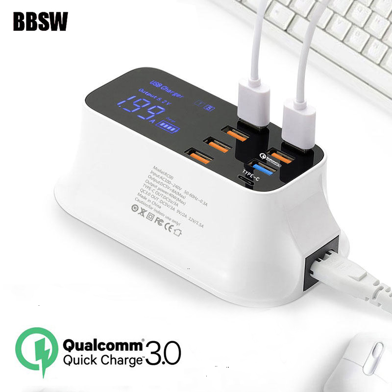 Quick Charge 3.0 USB Charger Station 7 USB LED Display Type C Fast Charging Desktop Adapter For iPhone X iPad SAMSUNG S9+ XIAOMI