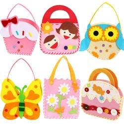 DIY обучающая игрушка Детские мини-сумки нетканые ткани красочные ручной работы сумка мультфильм животных детские сумки Детские швейные