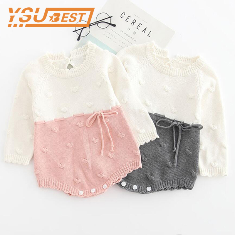 2019 Spring Baby Girls Boys Knitted Rompers Newborn Baby Girls Rompers Jumpsuit Kids Boys Gray Rompers 0-3Yrs Girls Boys Clothes