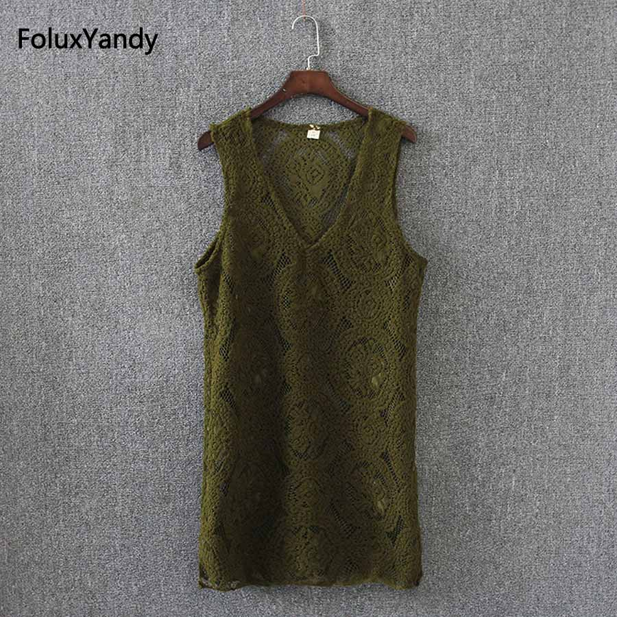 Lace Vests Women Brand New Plus Size 3 XL Casual Loose V-neck Hollow Out Vest Green Black Red KK2751 famous brand new blue green women size xl paisley print v neck blouse $90 351 page 6