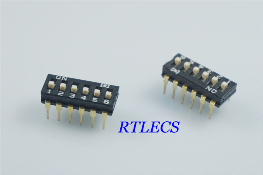50pcs Dip Switches SPST 6 Position 2.54mm 0.100\