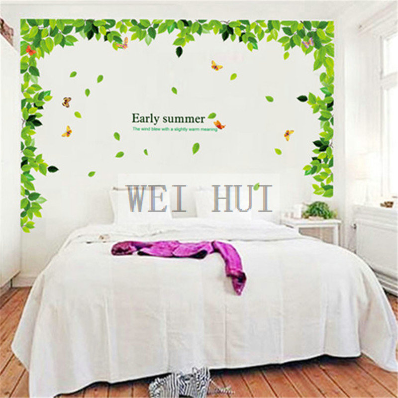 Large Size Green Spring Vine Leaf Top Ceil Ceilling Love Life Vinyl Decal Wall Sticker f ...
