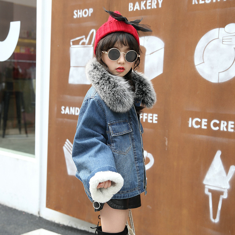 3317dee18 fashion thicken warm girl jeans coat kids clothes single breasted ...