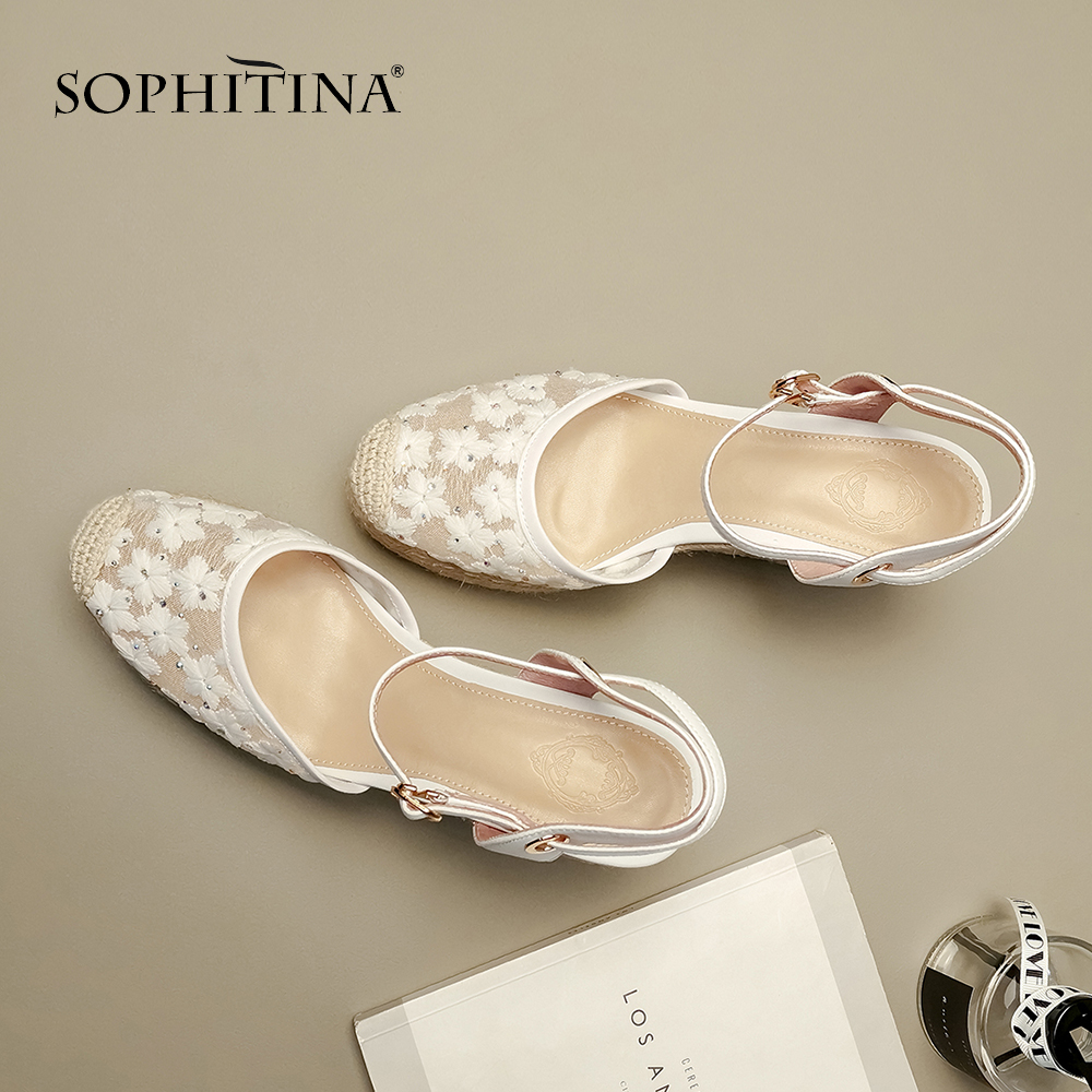 SOPHITINA Fashion Straw Heels Ladies Sandals Handmade Black Cow Leather Fisherman Wedges Shoes Back Strap Women Sandals PO191 in High Heels from Shoes