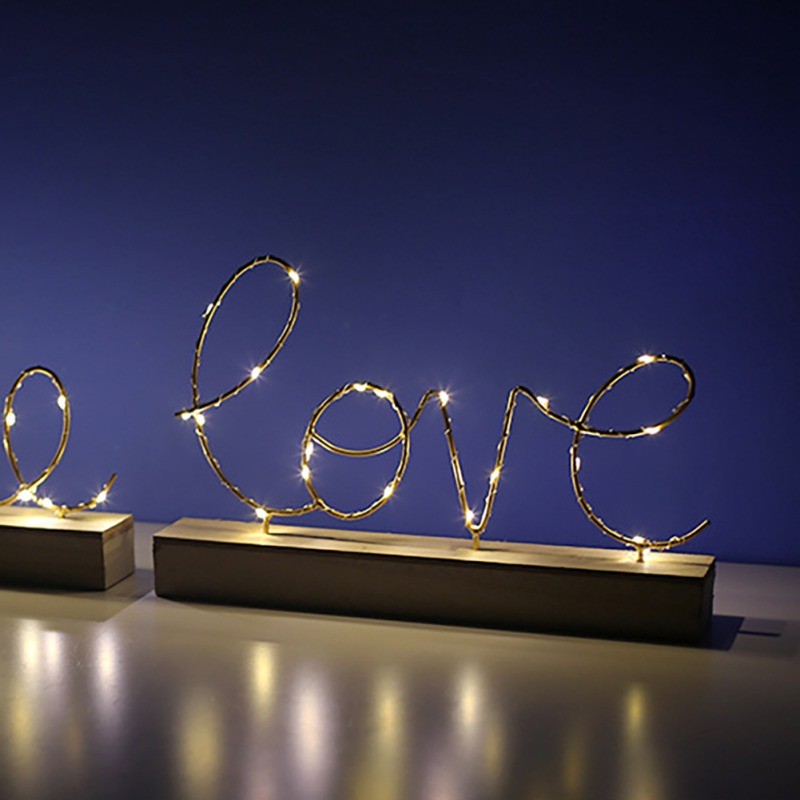 Home & Garden Radient Love For Christmas Iron Art Wood Bottom Letter Lamp Light Home Bedroom Wedding Decor Birthday Xmas Valentines Day Decoration