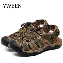 YWEEN Homens Sandálias De Couro de Verão Oco Respirável Não deslizamento Sapatos Casuais Ao Ar Livre Praia Grande tamanho EUR45 48