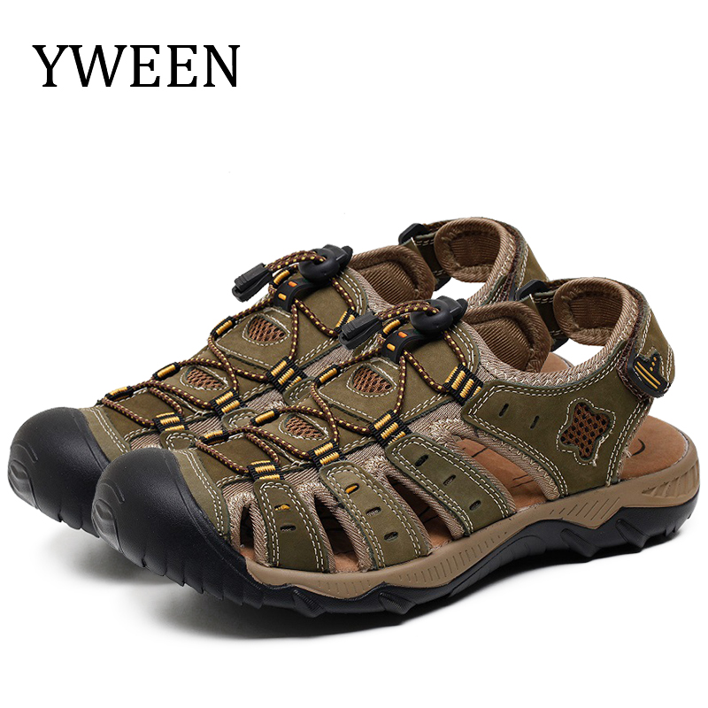 YWEEN Men Sandals Leather Summer Hollow Breathable Non-slip Casual Outdoors Beach Shoes Large Size EUR45-48