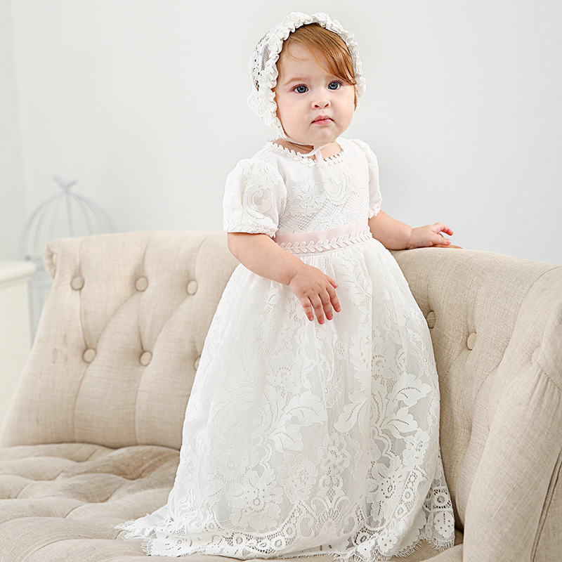 Newborn Baptism Dress For Baby Girl White First Birthday Party Wear Cute Sleeves Toddler Girl Christening Gown Clothes