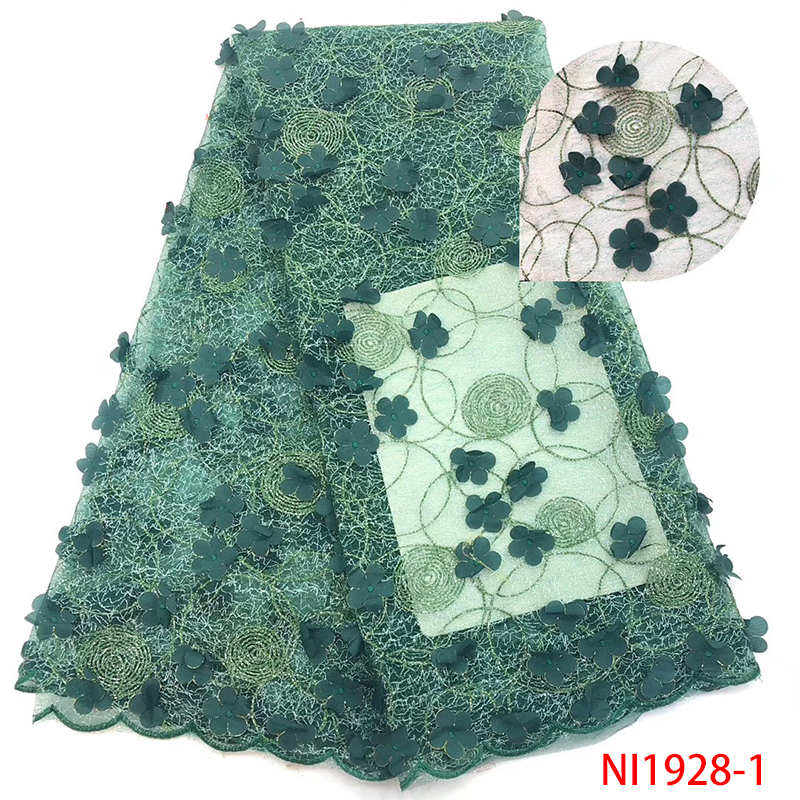 Latest African 3D Applique Lace Fabric High Quality French Organza Tulle Net Lace Fabric For Nigerian Dresses 5Yards KSNI1928-1