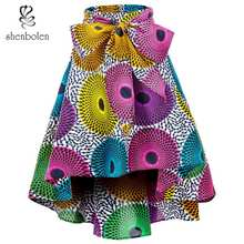 In the summer of 2017 African wax printing short skirts in fashion  Free package mail