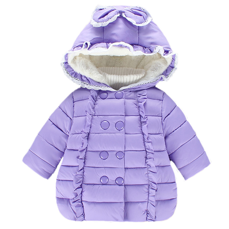 Children Down Parkas 2018 New Thick Cotton Padded Girl Winter Coat Princess Baby Kids Warm Jackets Bowknot Hooded Girls Parkas black 2017 new parkas female winter coat jacket thick cotton down hooded coats turtleneck padded jackets womens outwear women