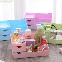 Drawer Type Cosmetics Desktop Storage Box Open Type High Capacity Plastic Sundries Container Dresser Makeup Organizer