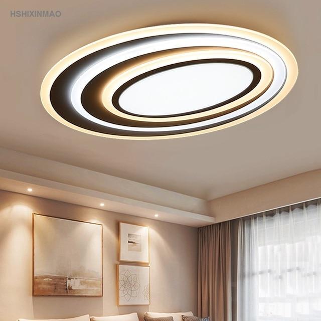 Postmodernistyczna sztuka akrylowa falista lampa sufitowa LED salon sypialnia studium owalne Ultra cienkie przyciemnianie lampy sufitowe AC110V-240V