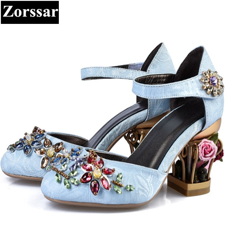 SIZE 33-43 Summer Woman Shoes High heels rhinestone sandals women Wedding shoes 2017 NEW Luxury brands womens ankle strap shoes green summer womens shoes rhinestone high heels sandals women pumps shoes 2017 fashion suede leather woman ankle strap shoes