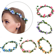 1Pcs Flower  Bride Artificial Plastic Head Wreath For Hair Floral Headband Wedding Accessories