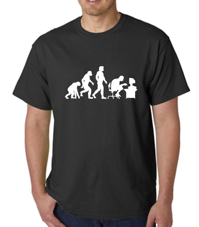 Прохладный Повседневное хлопковая Футболка модная Эволюция гик PC Gamer экипажа Средства ухода за кожей Шеи Для мужчин короткий топ t рубашка
