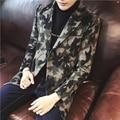M ~ 5XL! nuevo 2016 ropa hombre Delgado cruzado medio-largo abrigo de lana de lana foso de la manera de Camuflaje