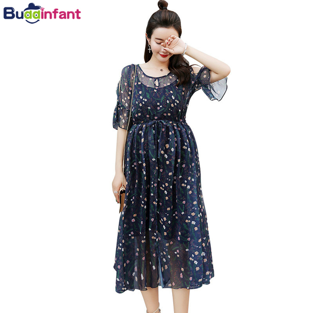 60988f5b0b0c2 Elegant Beach Dress Pregnancy Women Long Bohemian Style Dresses for Pregnant  Floral Dress Summer Maternity Clothes