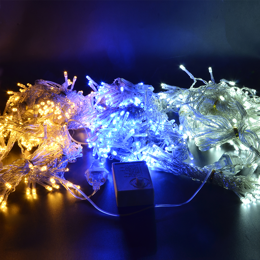 Kmashi 2pcs/lot Warm White LED Curtain Light 3x3M 300led String Light Christmas Fairy Li ...