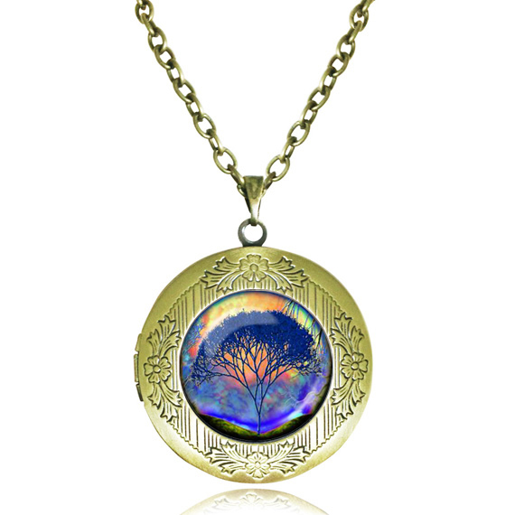 Buy Life tree locket necklace tree of life jewelry wisdom tree pendant glass dome choker perfume women men necklaces jewellery gifts for $3.59 in AliExpress store