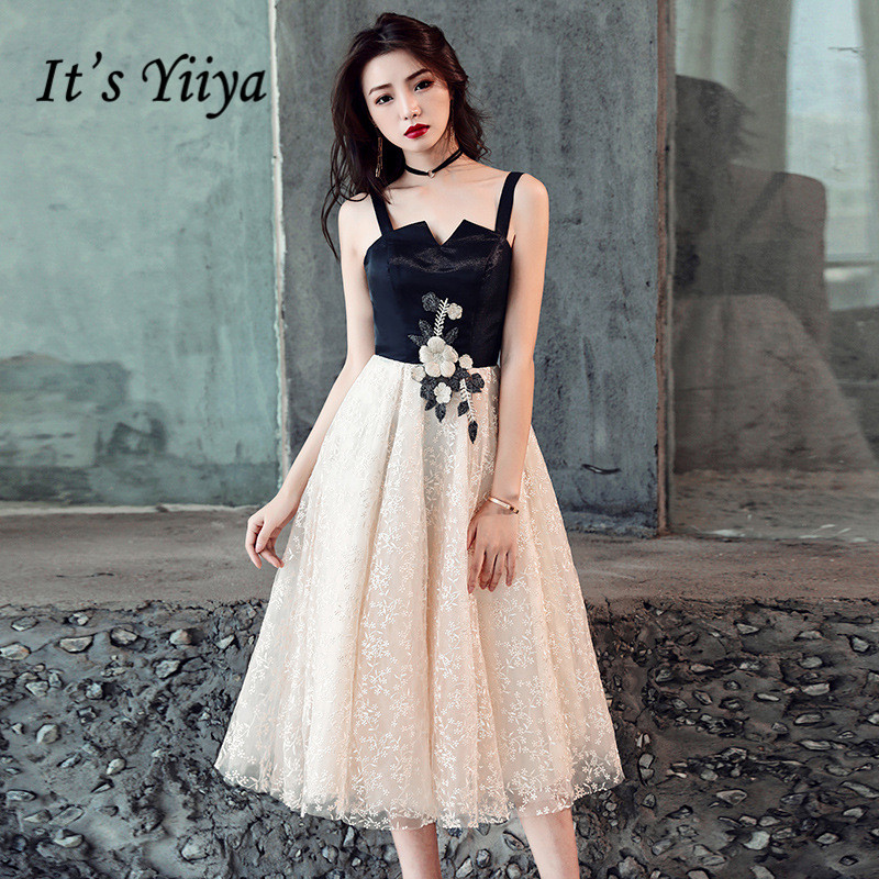 It's YiiYa   Prom     Dress   Appliques Snow Pattern Pachwork Short Party   Dresses   Sexy Spaghetti Strap Lace Up Formal Gown E026