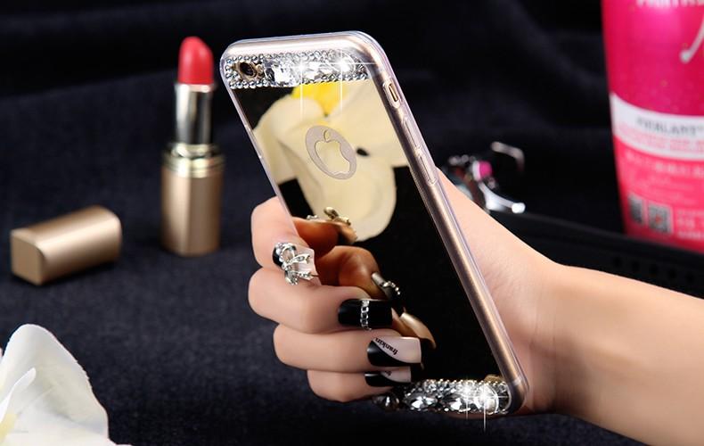 Dla iphone 6 7 case glitter lustro sprawach phone bag dla iphone 7 6 6 s plus 5S 5 se diamond case do samsung s8 plus s6 s7 krawędzi 1