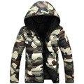 2016 outono & inverno moda homens Magros camuflagem projeto casacos de capuz parka jaquetas casuais outerwear parka e casaco para os amantes Y72E