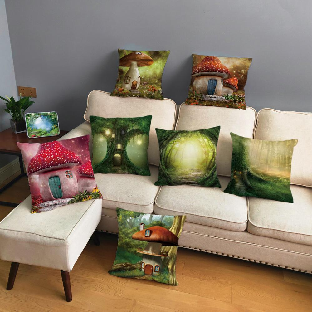 Psychedelic Forest Scenic Mushroom House Cushion Cover For Sofa Home Decor Scenic Throw Pillowcase Print Pillow Case 45*45cm