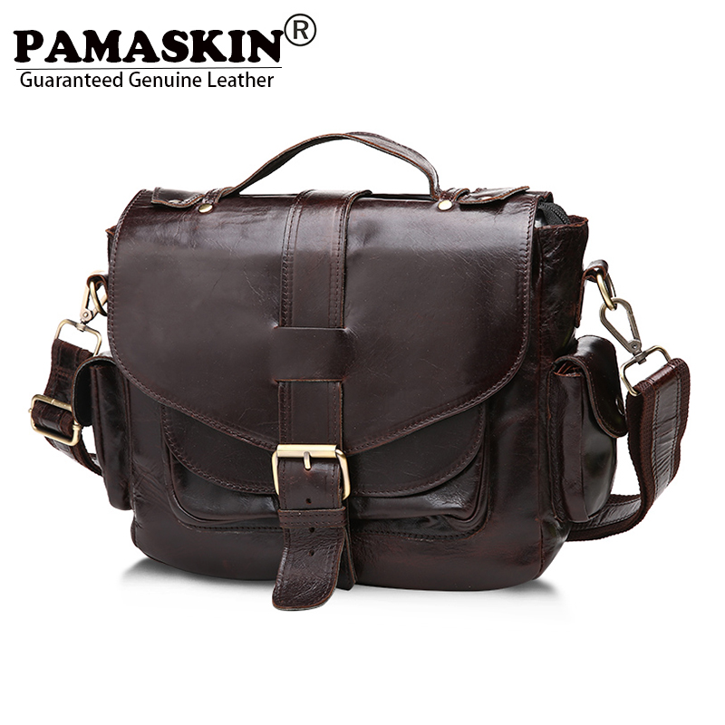 PAMASKIN Brand Vintage England Style Men Messenger Bags Premium Cow Leather Hot Cross-body Bag for Businessmen 2017 New Arrivals new casual business leather mens messenger bag hot sell famous brand design leather men bag vintage fashion mens cross body bag
