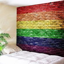 Rainbow Mosaic 3D Stone Bricks Tapestry Wall Hanging Polyester Boho Fabric Cloth Art Home Decor Mandala Indian Tapestries