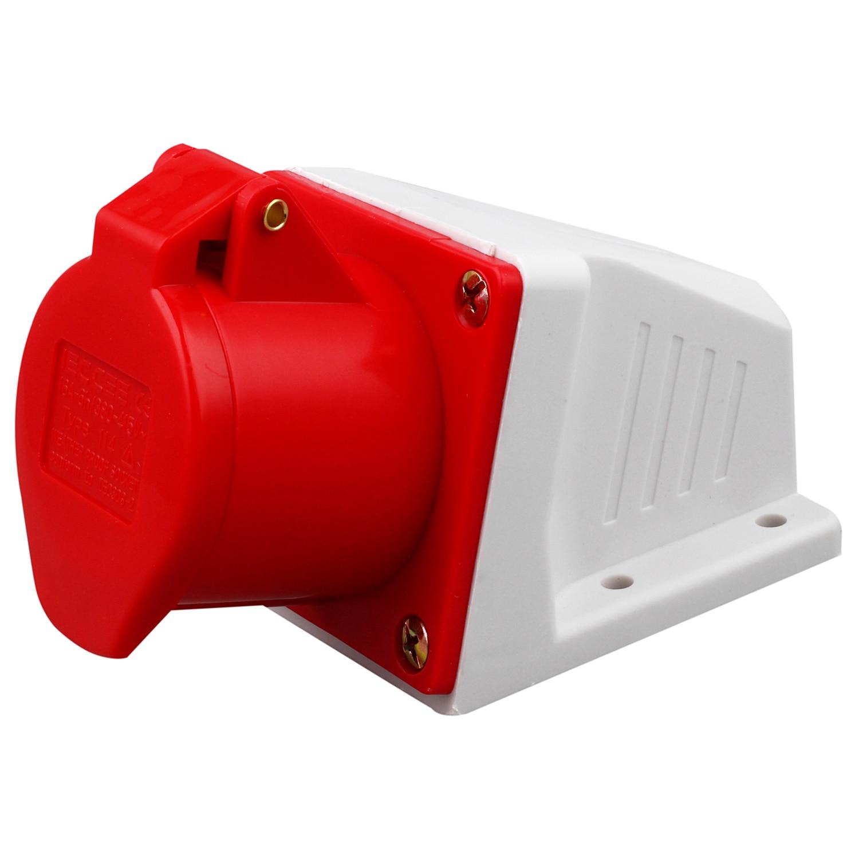 415V 16 AMP 4 PIN PLUG WALL MOUNT SOCKET WATERPROOF IP44 3 PHASE 380- 3P + E 16A все цены
