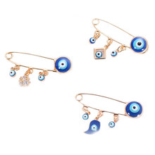 Ethnic Style Blue Evil Eye Brooch & Pin For Women Men Fashion Gold Color Heart Elephant Bird Charm Animal Brooches Jewelry(China)