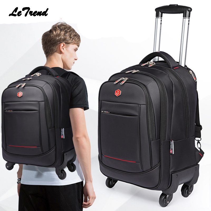 Letrend Rolling Luggage Spinner Backpack Shoulder Travel Bag High Capacity Suitcase Wheels Multifunction Trolley Carry On Trunk
