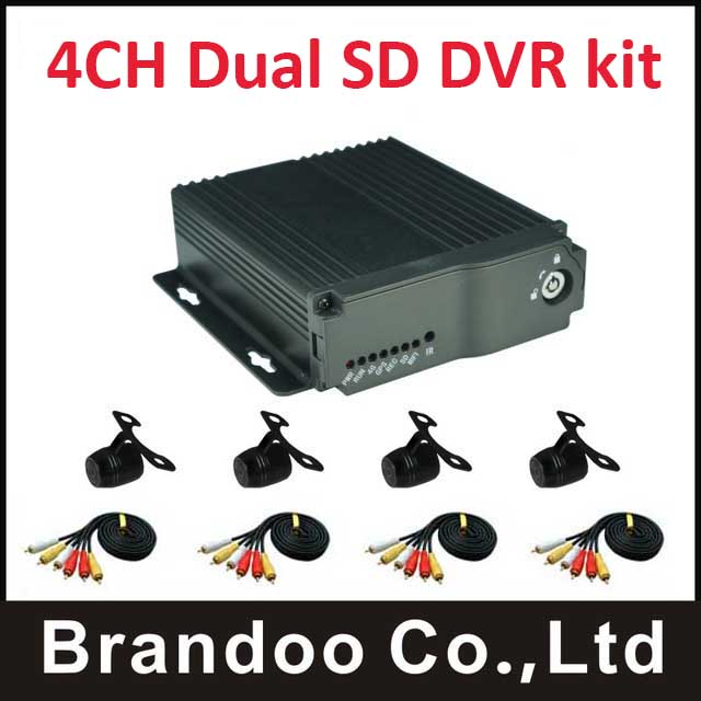 dvr 4 channels,Cheap CAR DVR with 4 cameras kit, used for taxi,bus,driving school car,4channel dual SD mobile DVR kit купить в Москве 2019