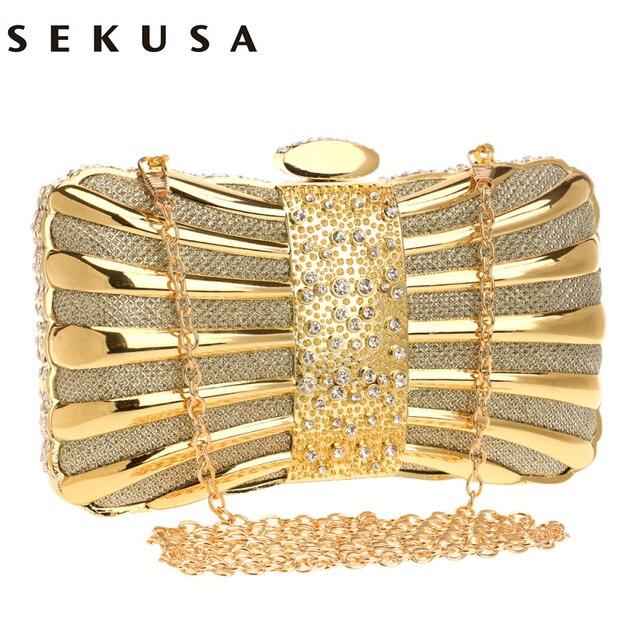 SEKUSA Luxurious Women Clutch Bags Metal Diamonds Chain Shoulder Evening Bags Lady Dress Wedding Dinner Party Handbags