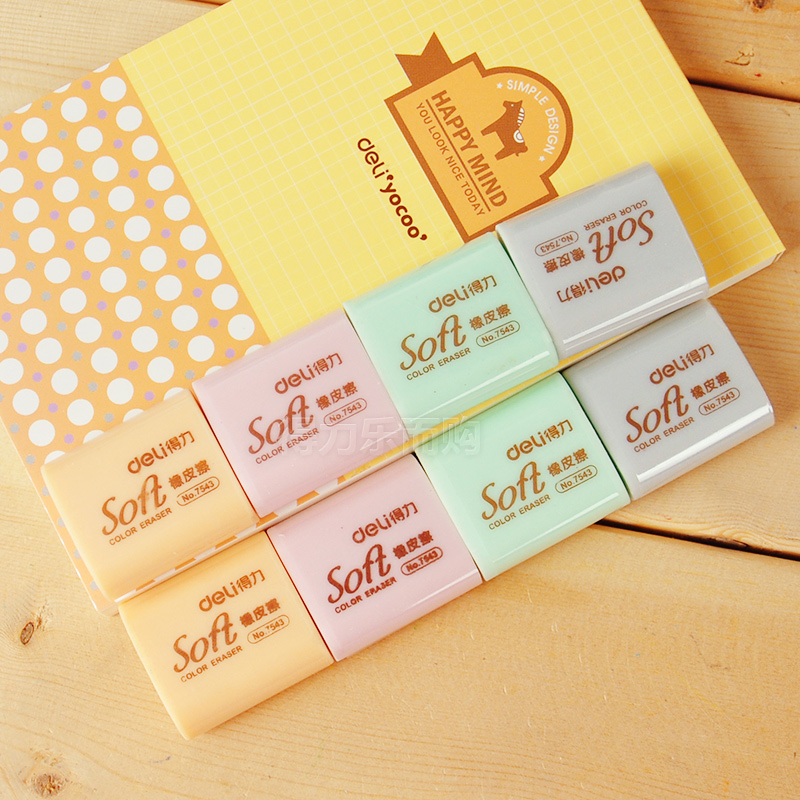 4 Pcs 4 Colors Soft 4B Colored Rubber Erasers For Students Pencil Eraser 32x27x12mm School Stationery Deli 7543