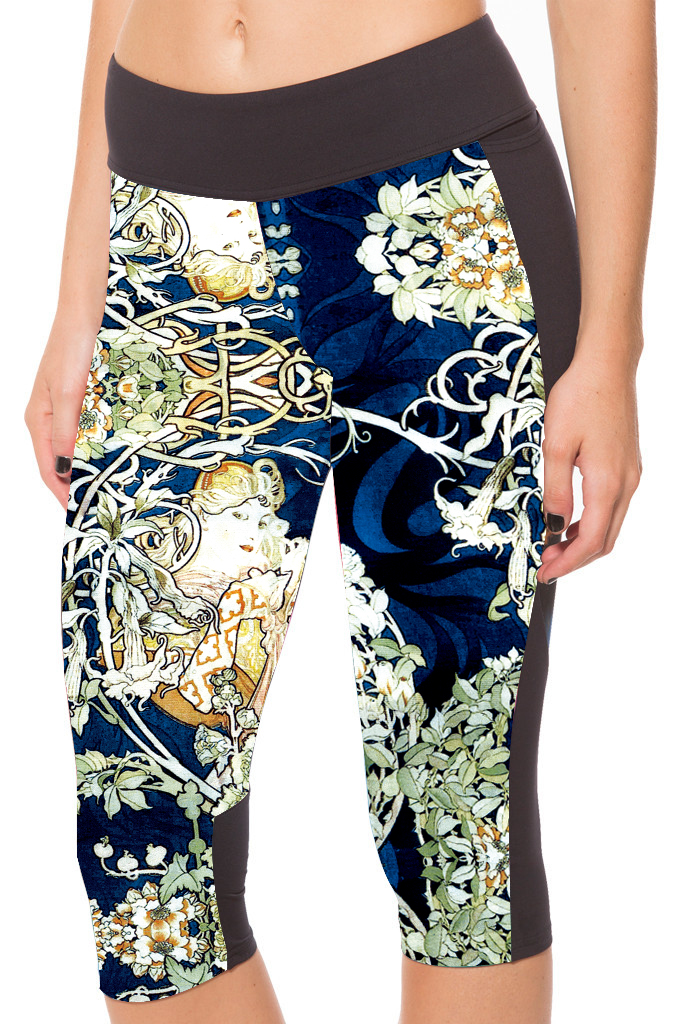 classic shop Store 2017 nandi poems Fashion Women Fitness Side Pocket Capris Pants Slim Leggings Flower Print Skinny Breathable Quick Dry Trousers