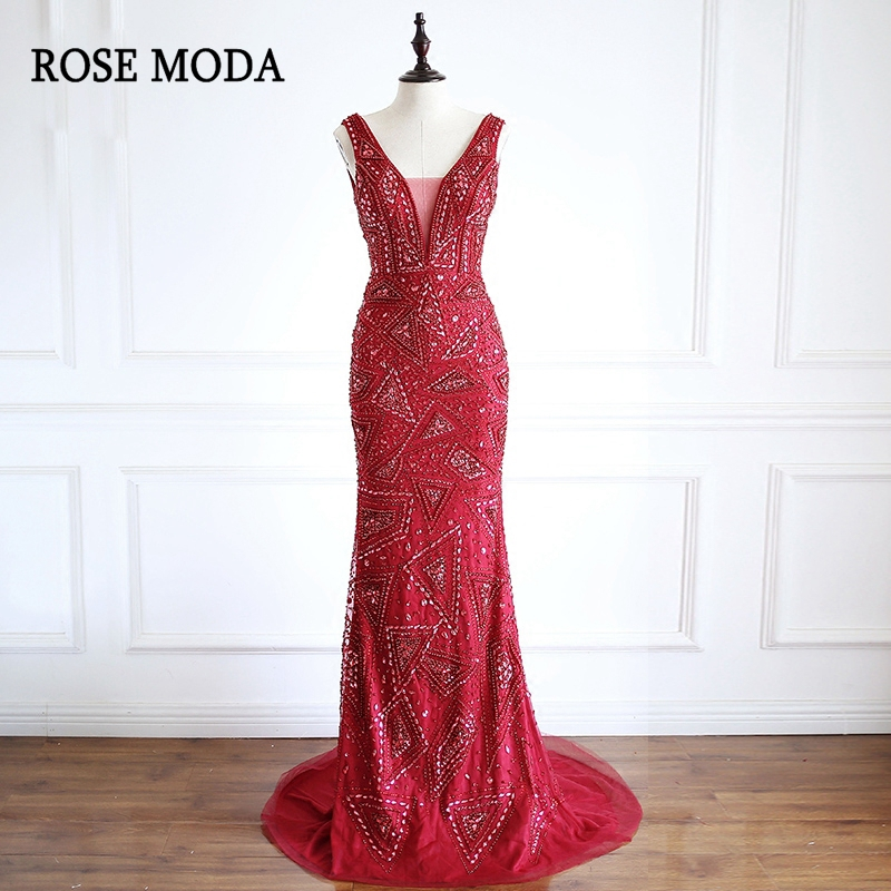 Rose Moda Sexy Deep V Neck Wine Red Mermaid   Prom     Dress   2018 Long Crystal Burgundy   Prom     Dresses   Real Photos