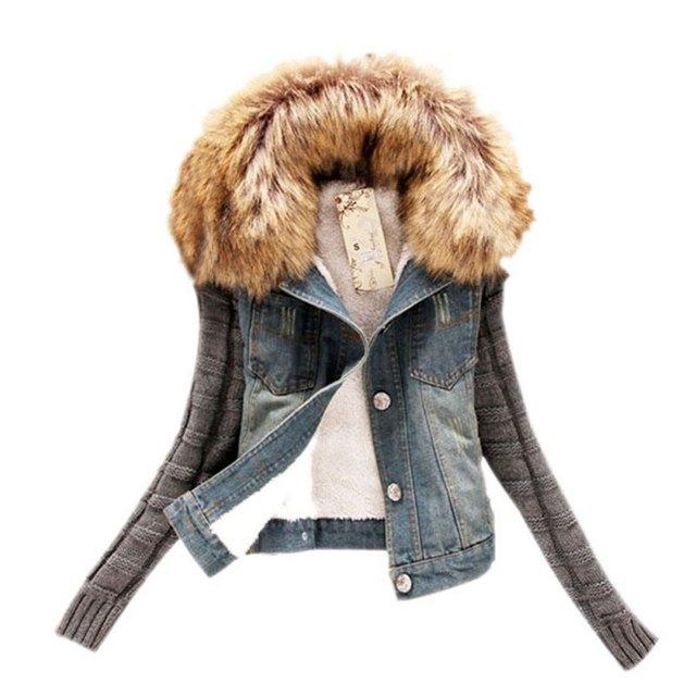 Inverno Moda Feminina Denim Knittes Móveis de Peles de Lã Gola do Casaco Jaqueta de Manga Longa Jaqueta Jeans Femininos Casacos Básicos