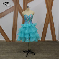 Sparkly Colorful Crystals Homecoming Dress 2018 Newest Sweetheart Tiered Organza Light Blue Short Homecoming Dresses Cheap