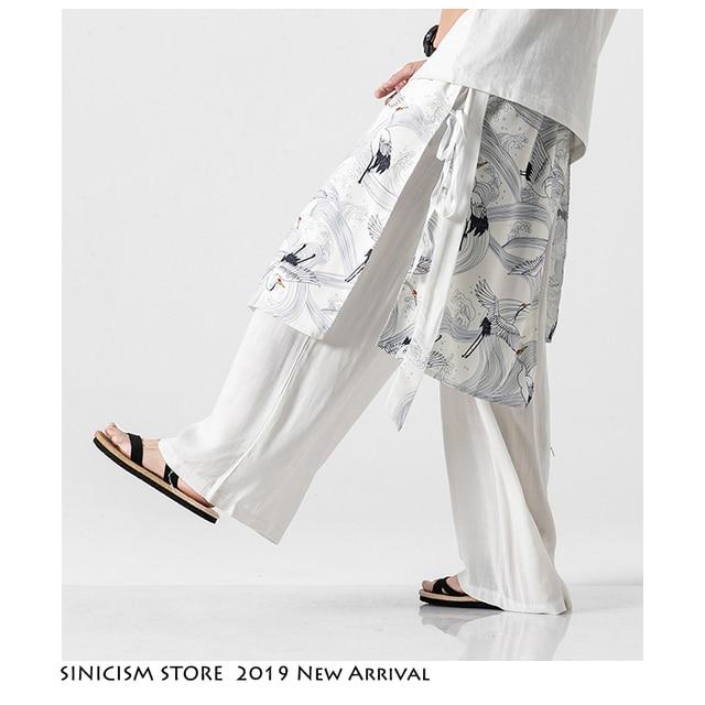 Sinicism Store Patchwork Flower Cotton Pants Mens Summer 2020 Chinese Style Loose Pants Male Wide Leg Pants Baggy Pants 11