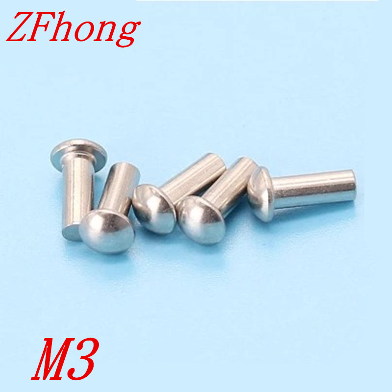 200pcs M3*4/5/6/8/10/12/14/16/20/25/30/35/40/45/50 Stainless steel half round head solid rivet high quality 50pcs m3 stainless steel round pan head machine screw m3 3 4 5 6 8 10 12 14 16 18 20 25 30 40 50 60 70 mm din7985