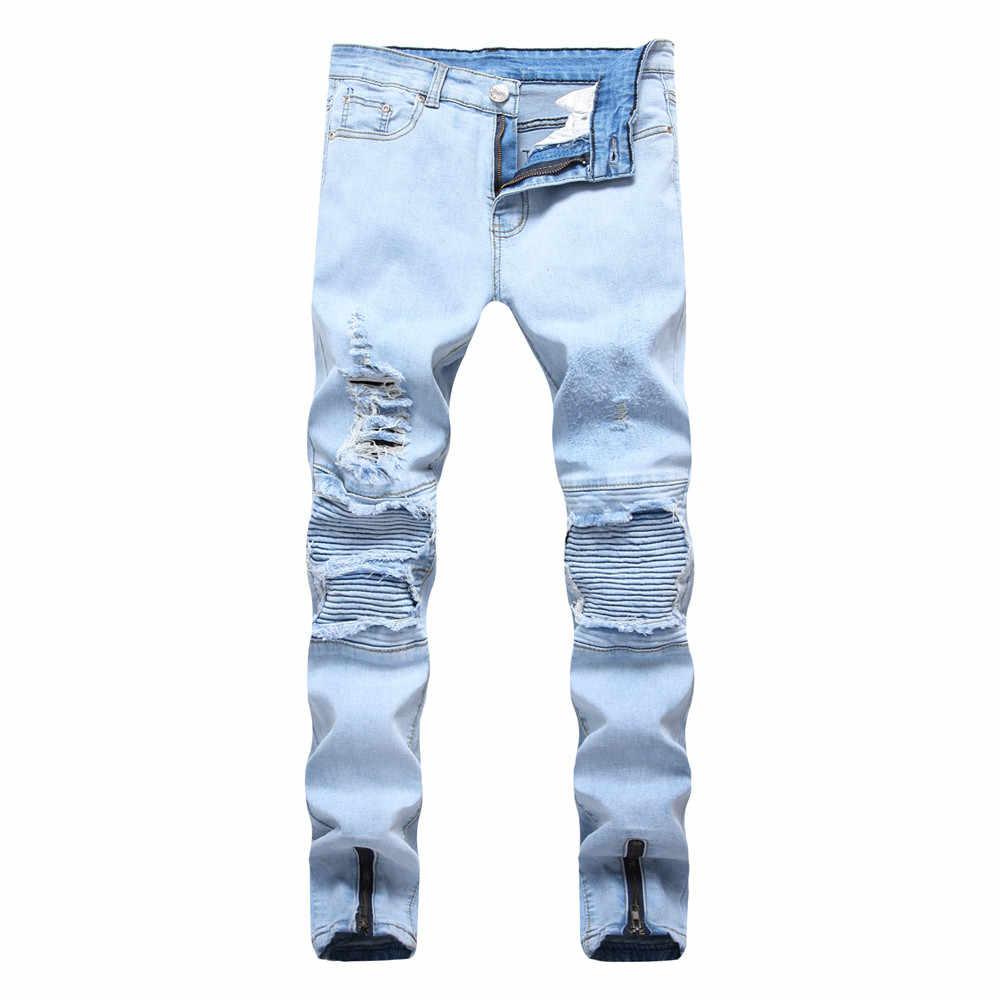 53684cad04d 2018 New Fashion Men Biker Jeans Ripped Denim Slim Fit Jean Pants Crease  Designer Hip Hop