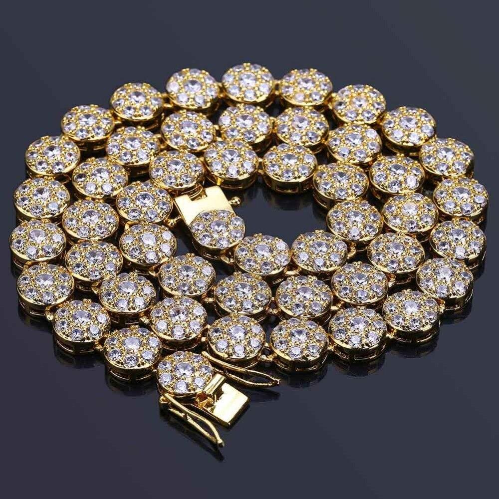 Hip Hop Bling glacé rond café grains collier or argent 1 rangée CZ pierre Tennis chaîne Chokers colliers pour hommes bijoux