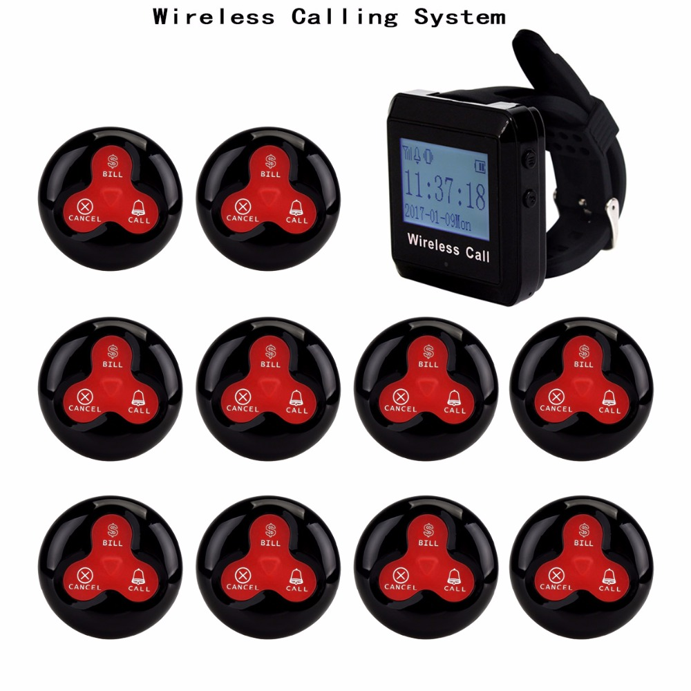 4 color 433MHz Restaurant Pager Wireless Calling Paging System Watch Wrist Receiver Host+10 Call Transmitter Button Pager F3255 wireless pager system 433 92mhz wireless restaurant table buzzer with monitor and watch receiver 3 display 42 call button
