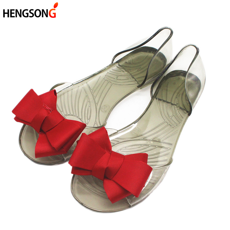 2017 Summer Crystal Jelly Shoes Female Sweet Open Toe Flat Heel Casual Beach Sandals Women Shoes Jelly Flats With Bow OR914830 2015 summer pointed toe flat heel jelly shoes female slip resistant sandals plastic flat beach women s student shoes page 2