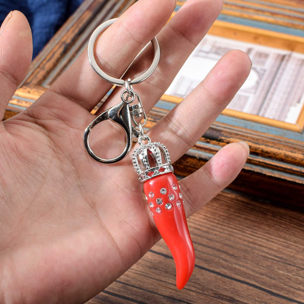 Itália Chaveiro Cúbicos de Zircônia Red Chilli Paprika Pimenta Chaveiro Chaveiro Para As Mulheres Bolsa Charme Chaveiro Bonito Para A Menina Amigo
