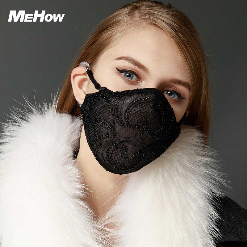 MeHow Mesh Cloth Embroidery Mouth Mask Women Black Lace PM2.5 Anti Haze Dust Mask Nose Filter Beauty Health Care Mouth-muffle 50pcs high quality dust fog haze oversized breathing valve loop tape anti dust face surgical masks