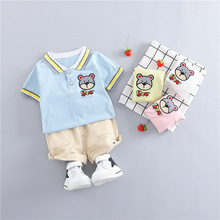 New Summer Unisex Baby Set Blue Yellow Cartoon Bear T-shirt & Shorts 2pcs Boy Clothes Outfit Fashion Pink Newborn Girl Suit
