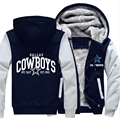 Men Women Dallas Foot Ball Team Cowboys Zipper Jacket Fleece Fashion Sweatshirts Thicken Hoodies USA size 2017 Fall Winter